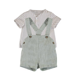 Mayoral Suspender Short Green Tan Stripe shirt 1214