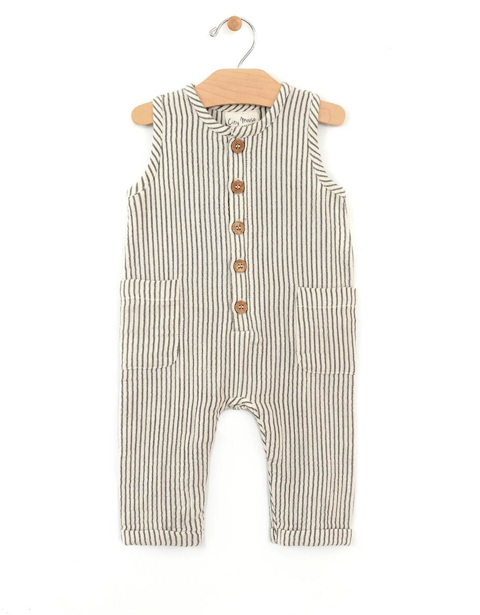 City Mouse Infant Long Stripe Tank Romper 318