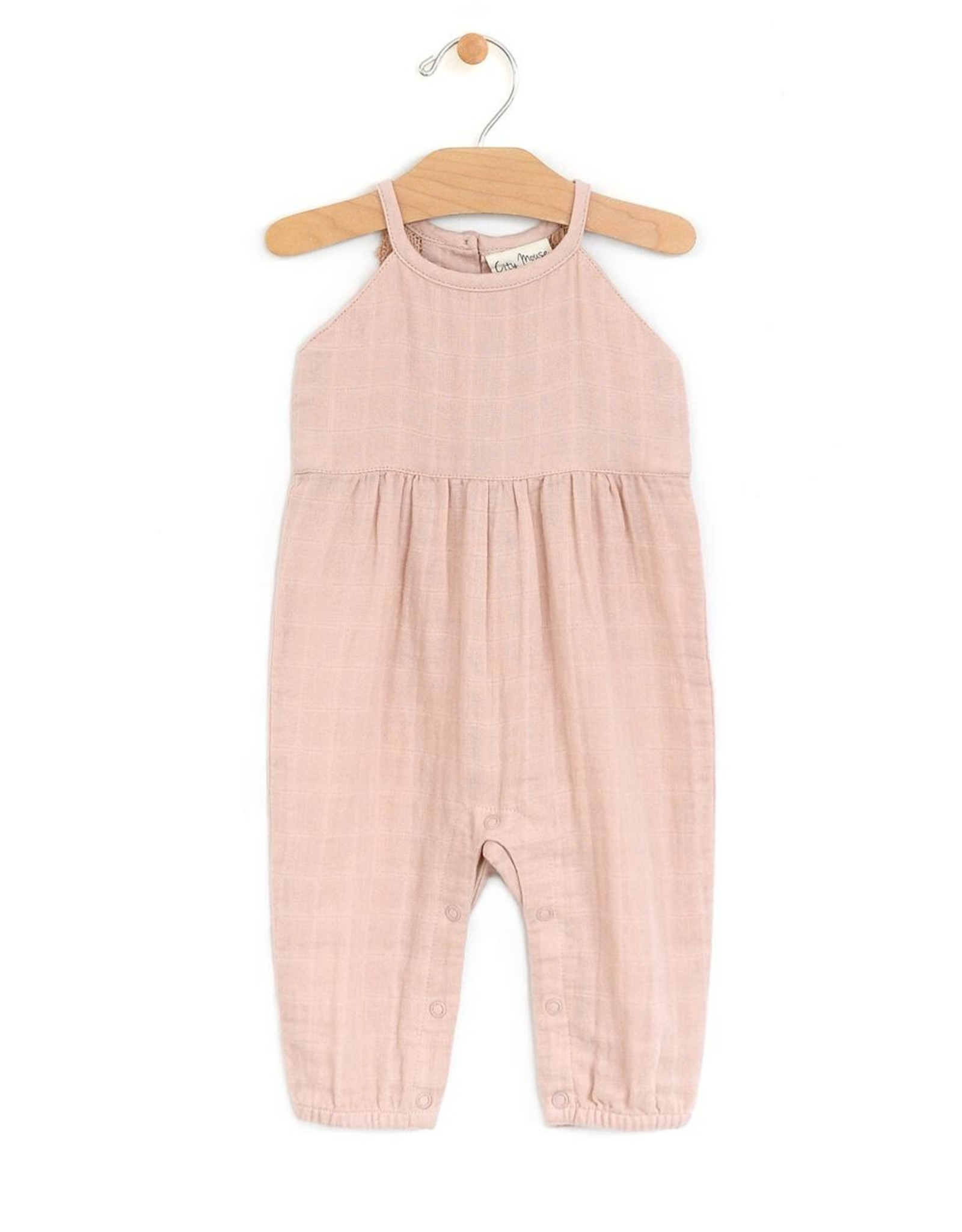 City Mouse Peach Muslin Long Romper with Lace Back