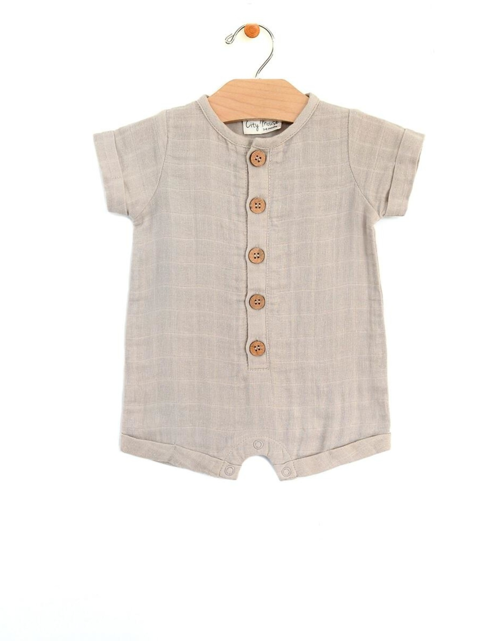 City Mouse Infant Short Romper Muslin Rain Cloud