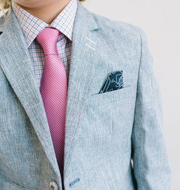 Leo and Zachary Blazer Blue Textured Chambray