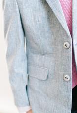 Leo and Zachary Blazer Blue Textured Chambray