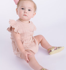 City Mouse Infant Muslin Soft Peach Drawstring waist Romper