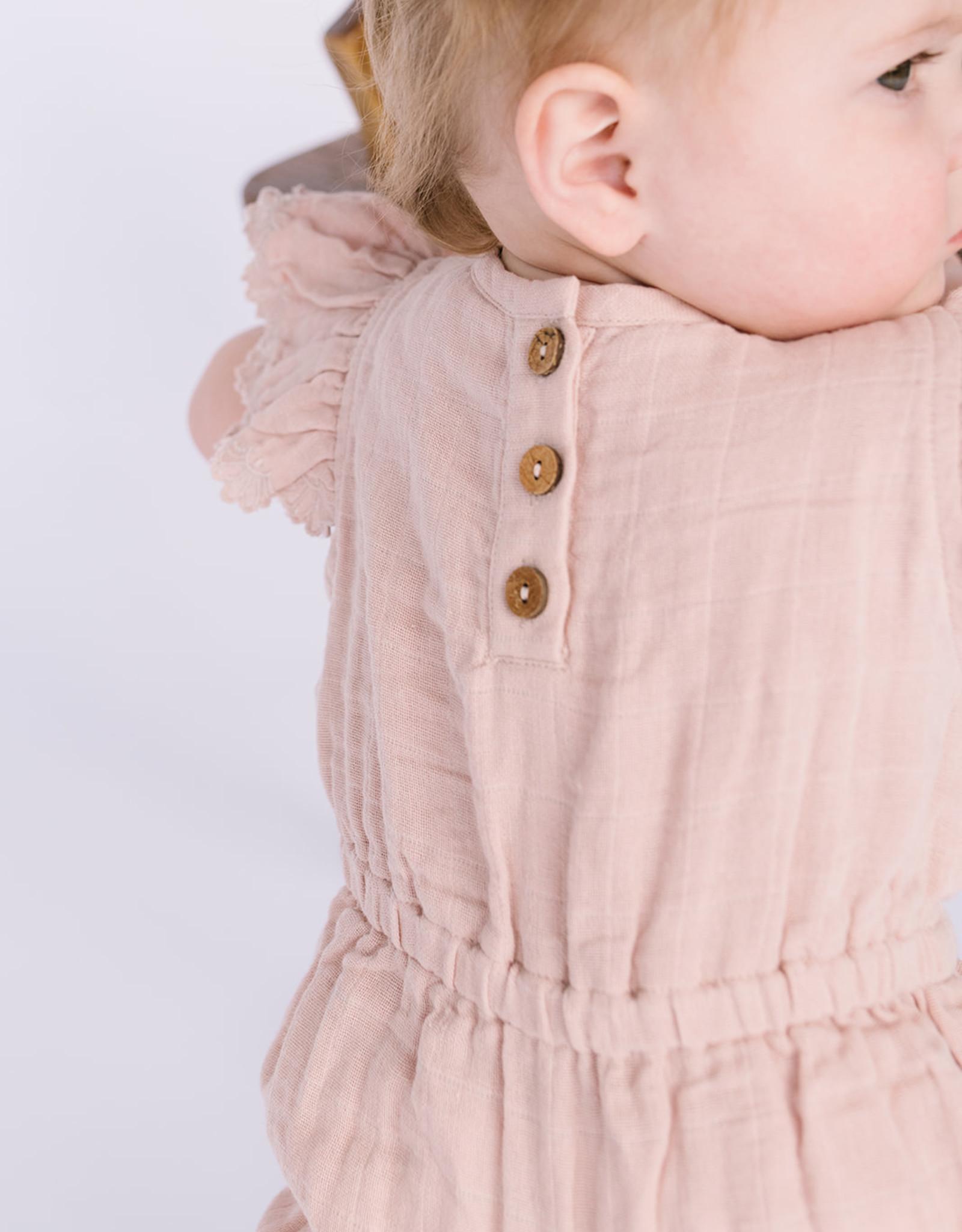 City Mouse Infant Girls Soft Peach Muslin Bubble Romper