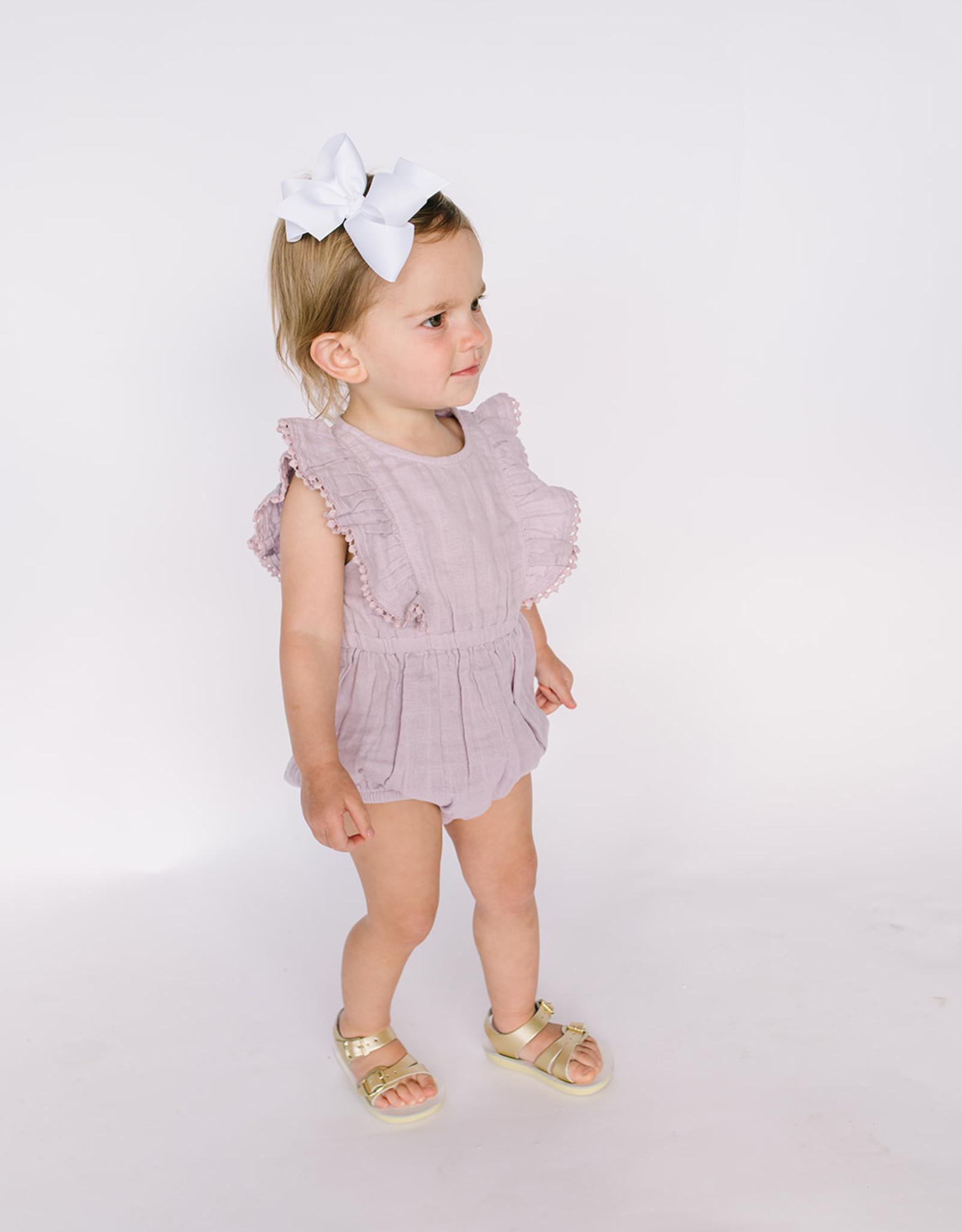 City Mouse Infant Girls Muslin Lilac Flutter Romper