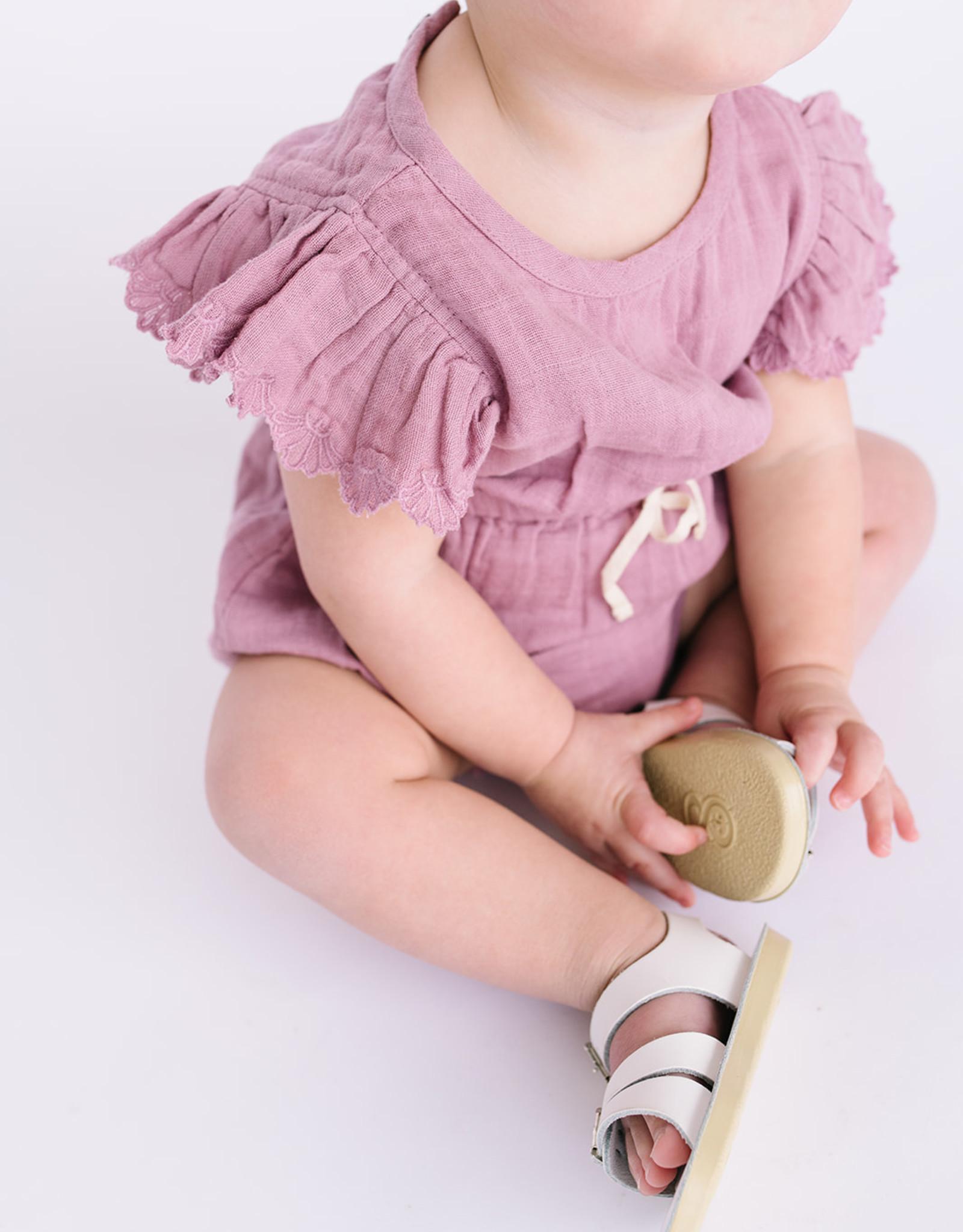 City Mouse Infant Muslin Amethyst Drawstring waist Romper