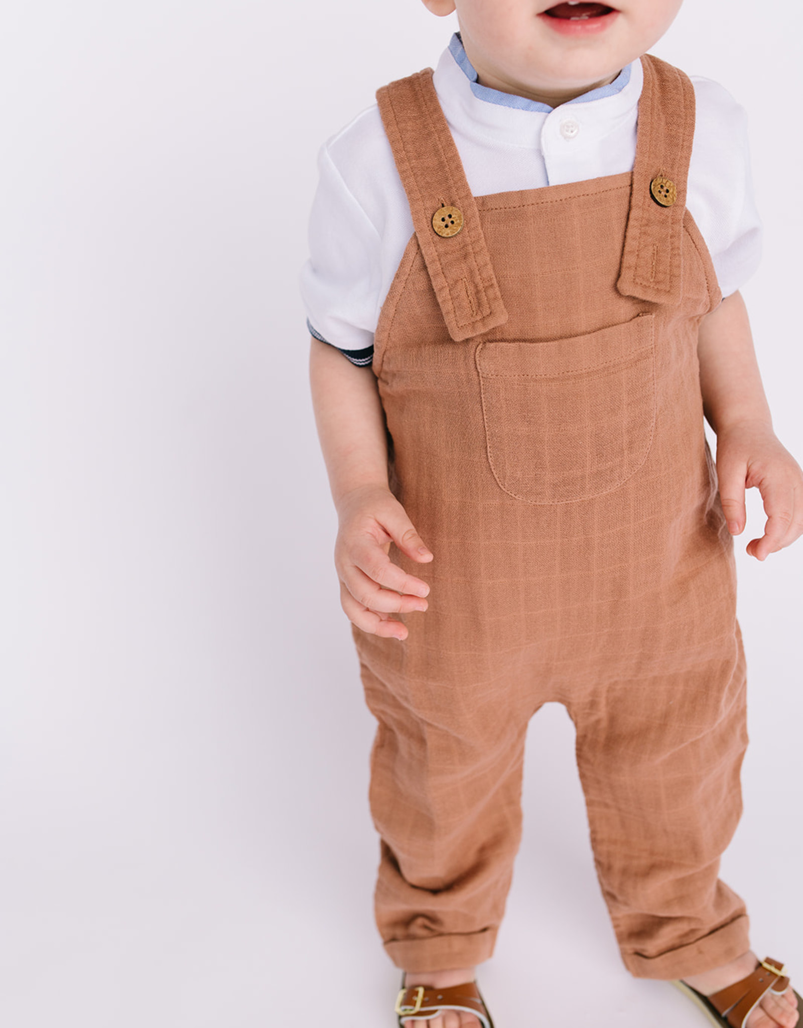 City Mouse Infant Long Muslin Overall Latte 310