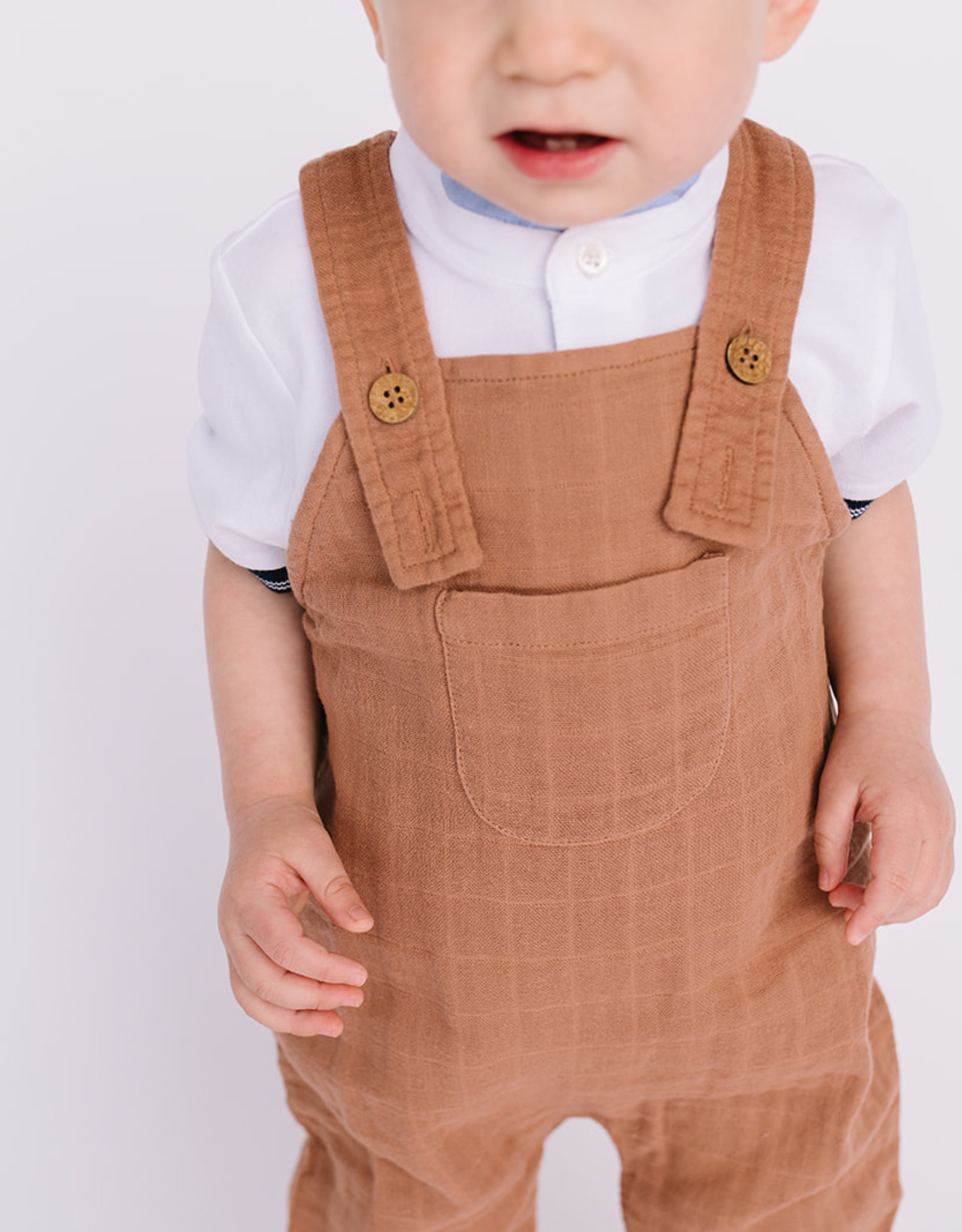 City Mouse Infant Long Muslin Overall in Latte