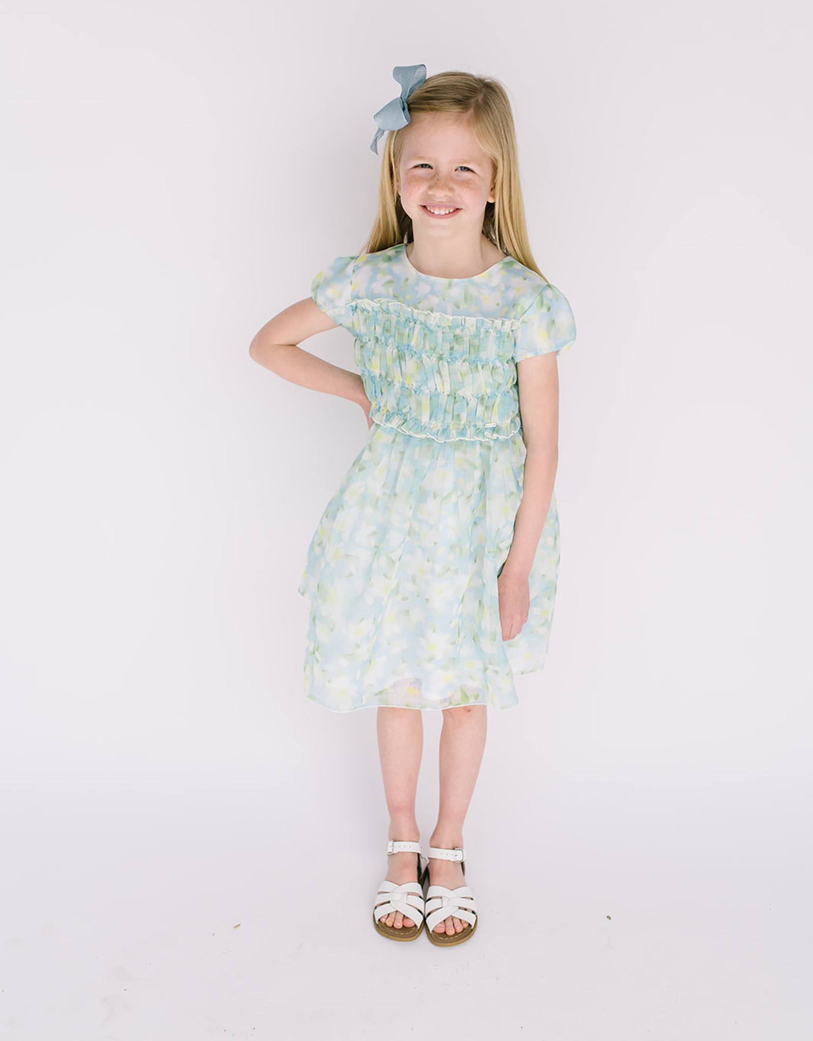 Mayoral Dress Chiffon Ltblue Lime Floral Print Smocked