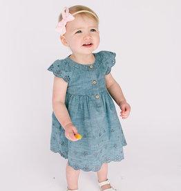 Mayoral Infant Dress Denim Eyelet Embroidery