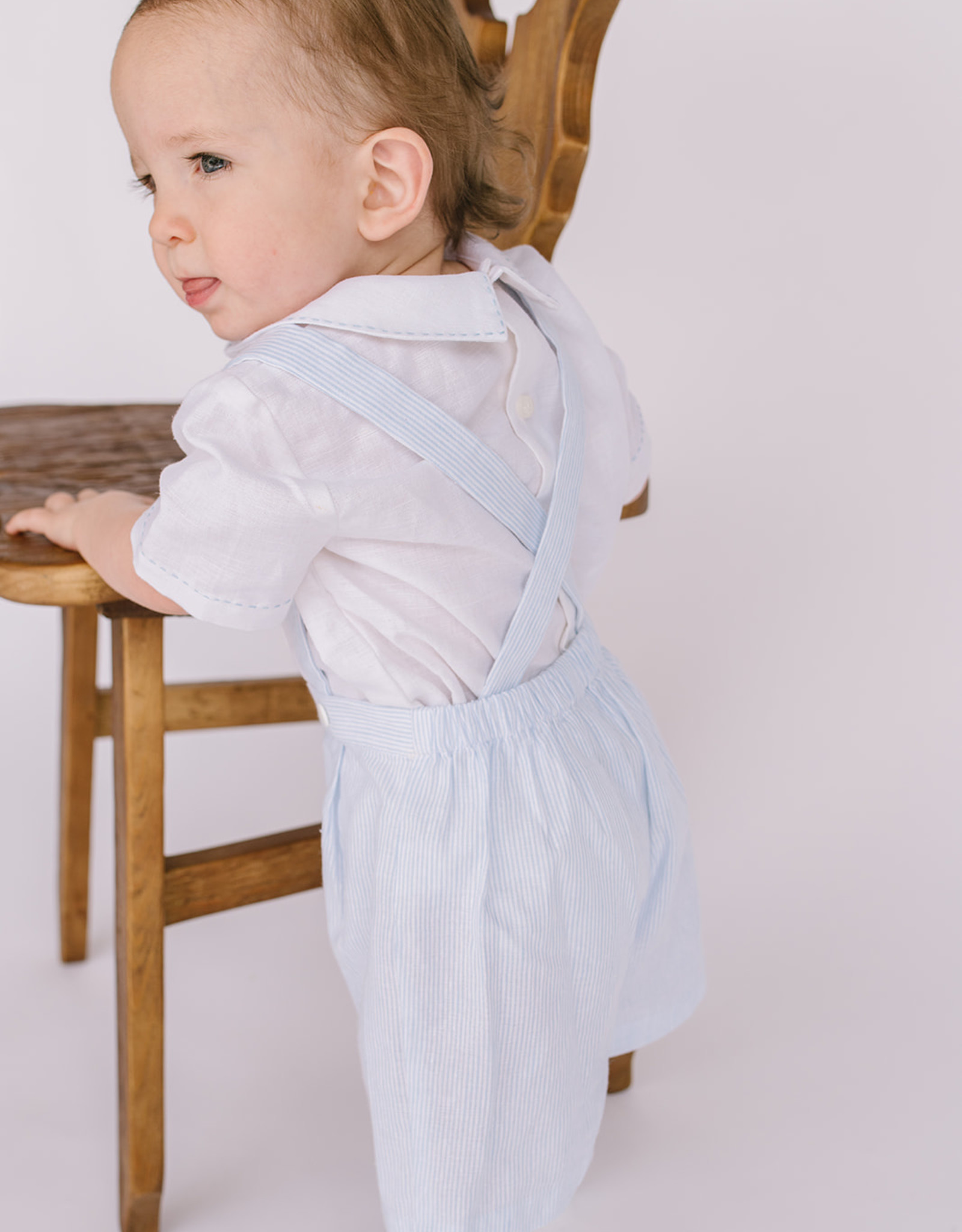 Luli Ltlbue Linen Suspender shortset