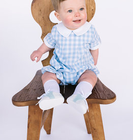 Sophie and Lucas Romper Blue Check with white collar and Cuffs