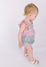 Sophie and Lucas Sunsuit Romper Red Navy Stripe