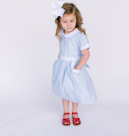 Sophie and Lucas Dress Ltblue white collar and scallops