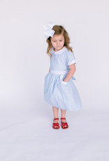 Sophie and Lucas Dress Lt. Blue with white collar scallop pocket 3029