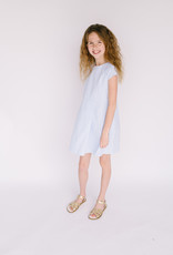 Gabby Ltblue stripe dress Fit and Flare Cap sleeve
