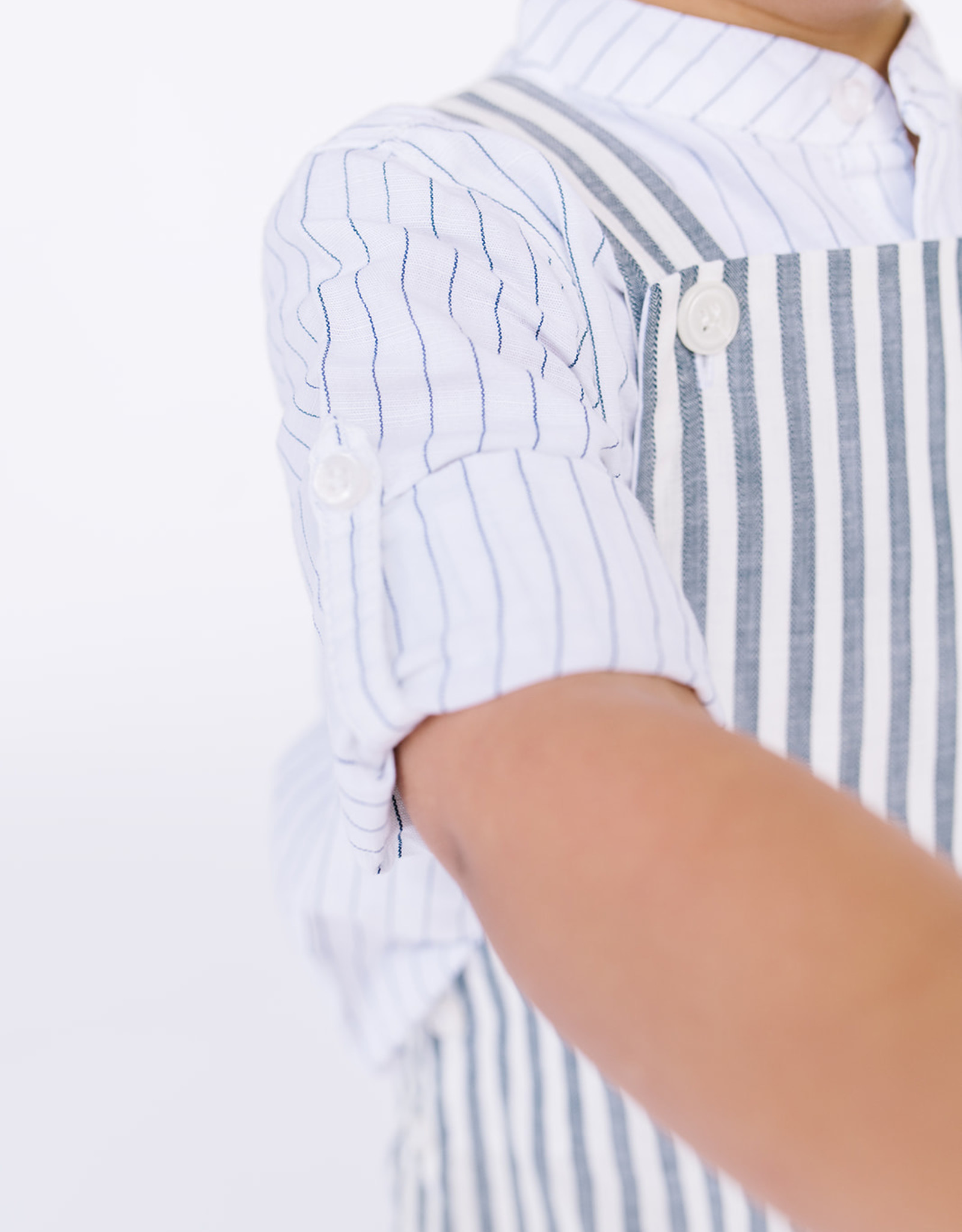 Mayoral Infant Shirt Pinstripe linen rollup tab sleeve