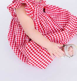 Mayoral Dress Red Gingham Flower Waist