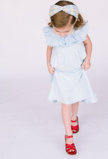 Creamie Ltlbue knit dress with Eyelet trim