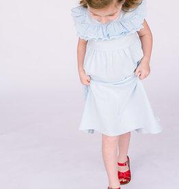 Creamie Ltlbue knit dress with Eyelet trim
