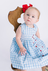 Sophie and Lucas Infant Dress blue check embroidered Ladybug