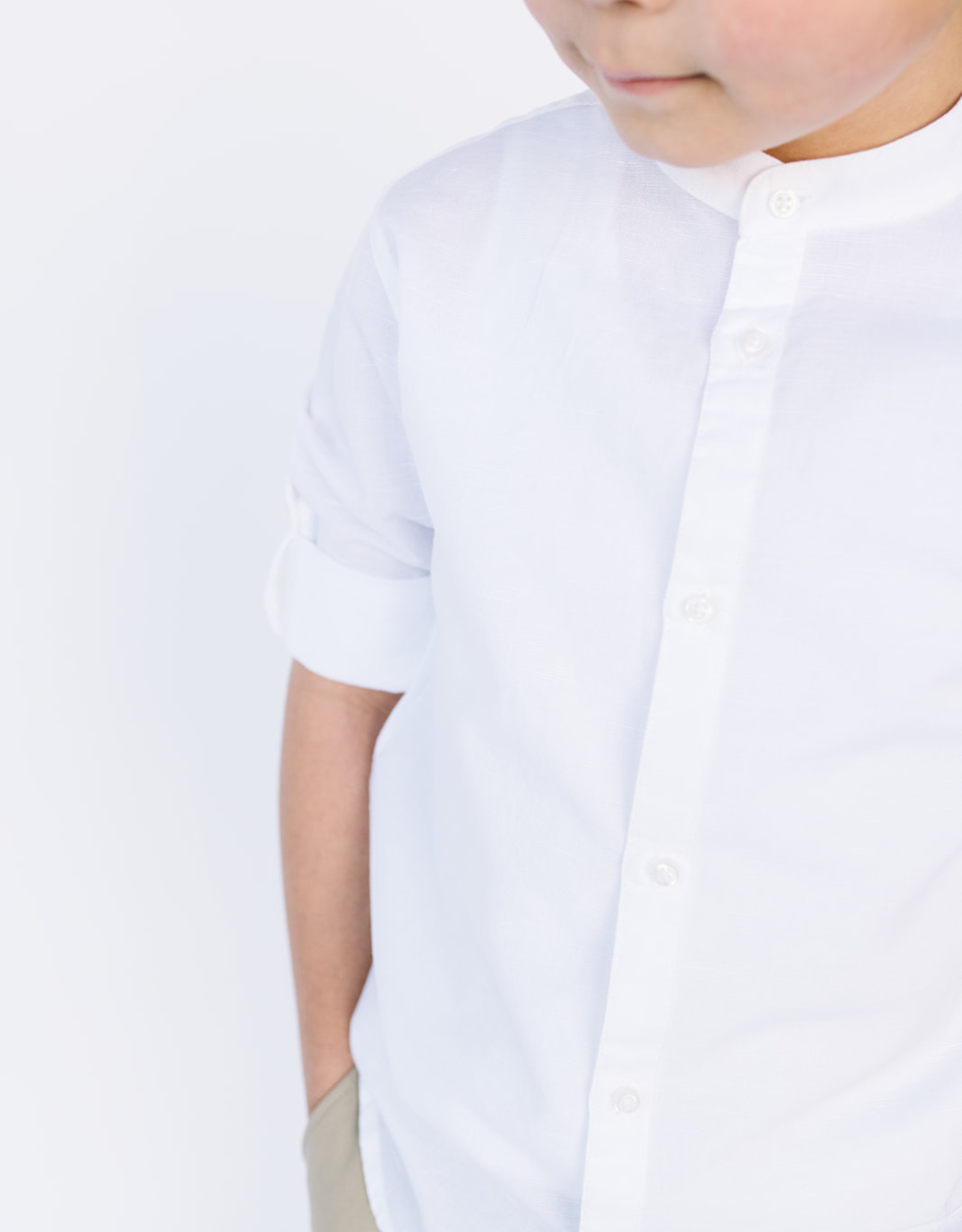 Mayoral White Shirt Band Collar Linen  Rollup Sleeve