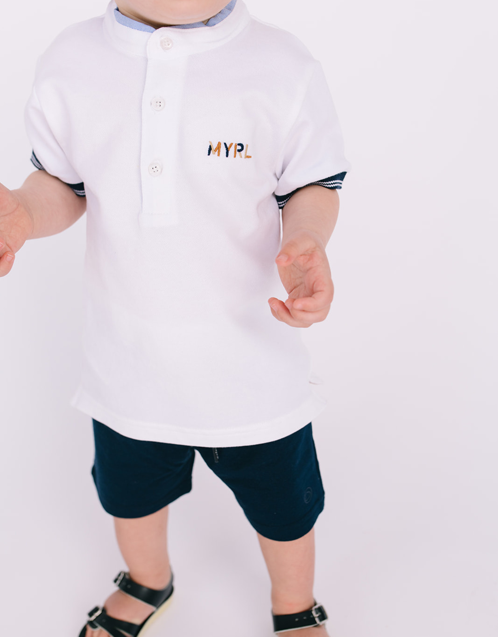 Mayoral White Band Collar Polo MYRL Logo