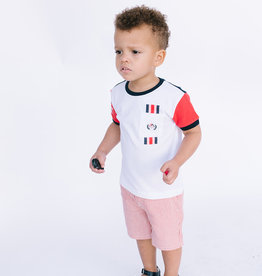 Mayoral Little Boys White Tee with Red Sleeves and Pocket