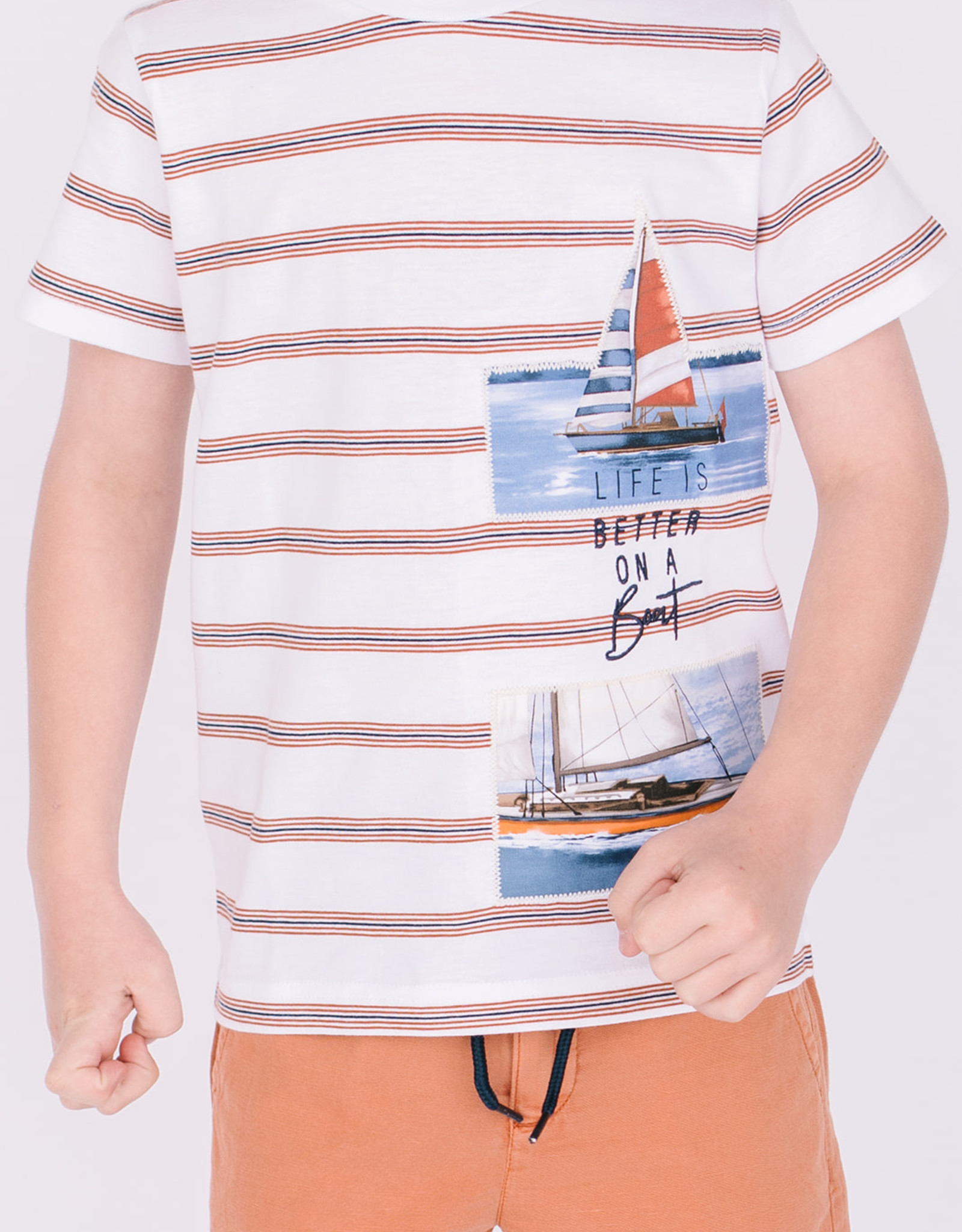 Mayoral Tee Clay Stripe with Sailboat Patches