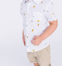 Mayoral Infant Boys Shirt  White with Animal Print
