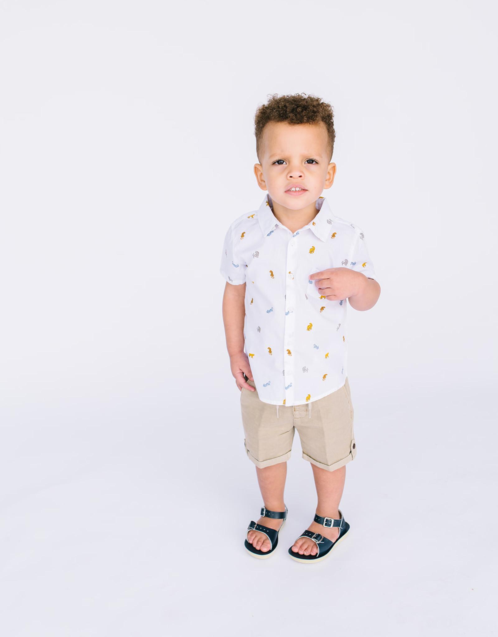Mayoral Infant Boys Shirt  White with Animal Print