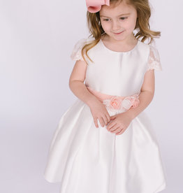 Abel & Lula Dress white taffeta pink lace sleeve