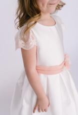 Abel & Lula Dress white taffeta pink lace sleeve