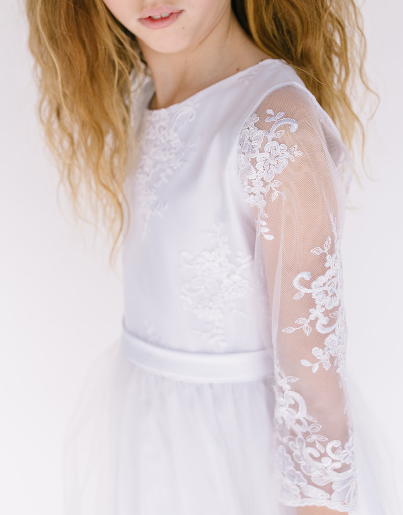 Sweet Kids Dress-wht long lace 3/4 sleeve-SK681
