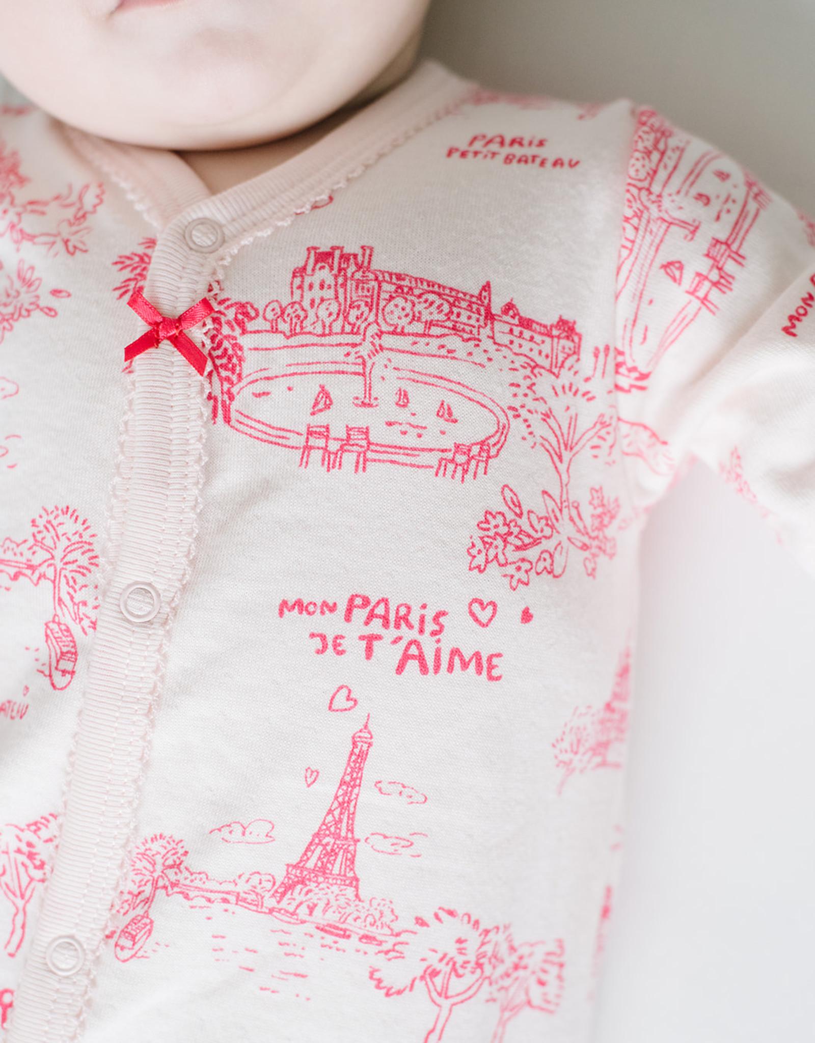 Petit Bateau Footie Pink Parisien Print