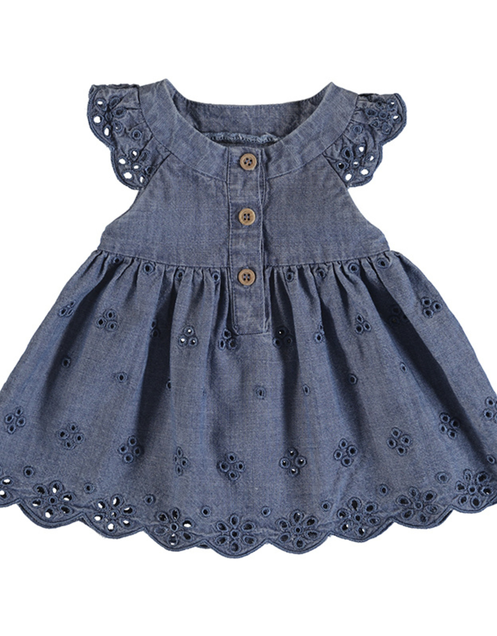 Mayoral Denim Dress with Eyelet Embroidery