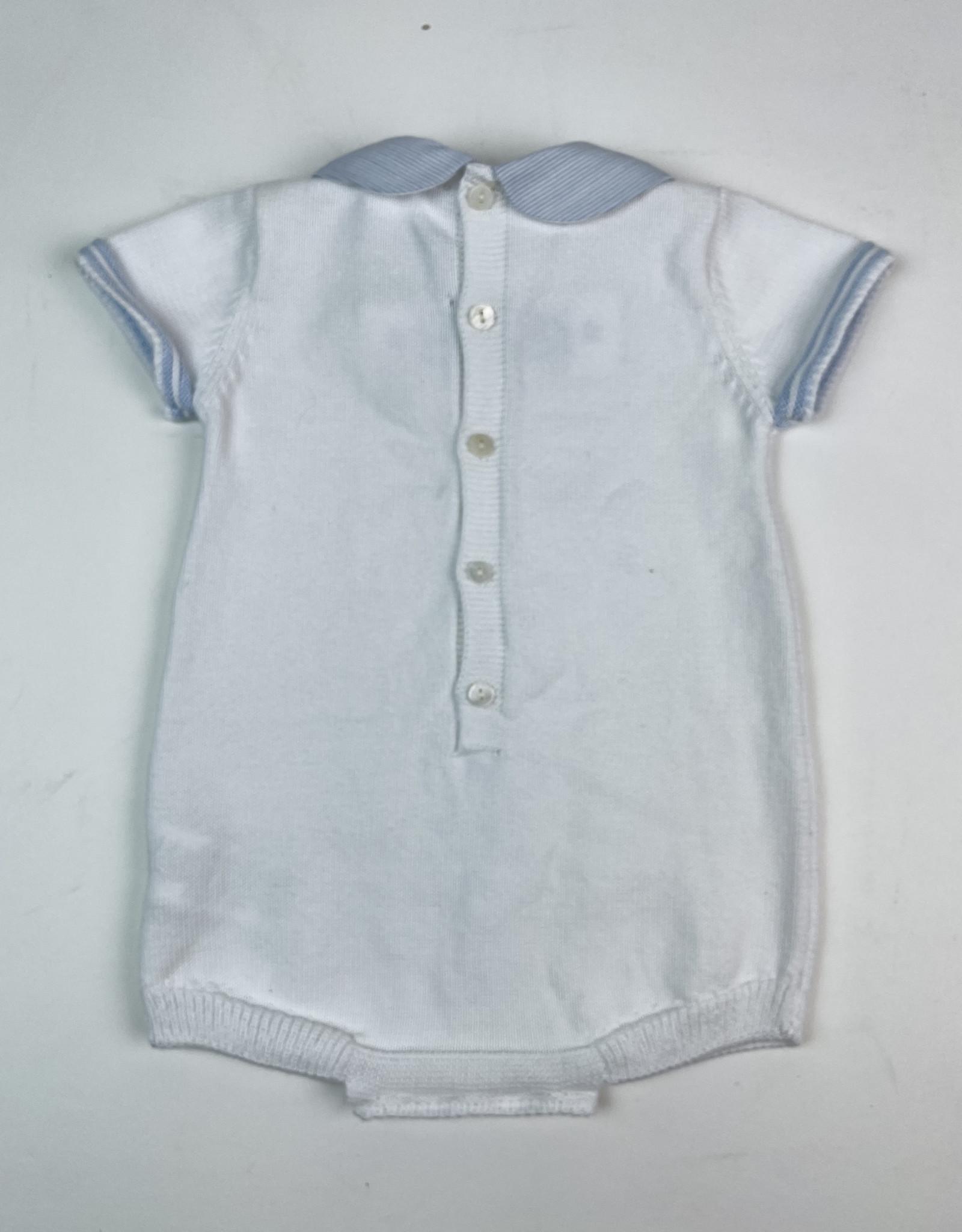 Martin Aranda Knitted Romper White with Ltblue Collar  10040