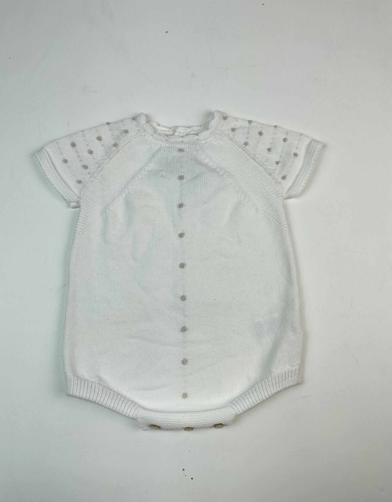 Martin Aranda Knitted Romper Cream With Tan Dots