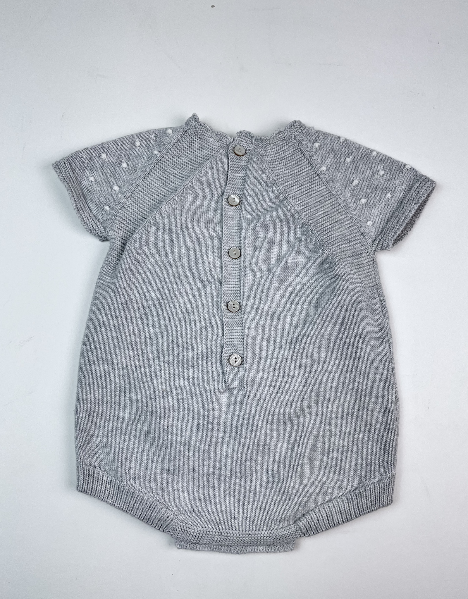Martin Aranda Knitted Romper Grey with Cream  Dots