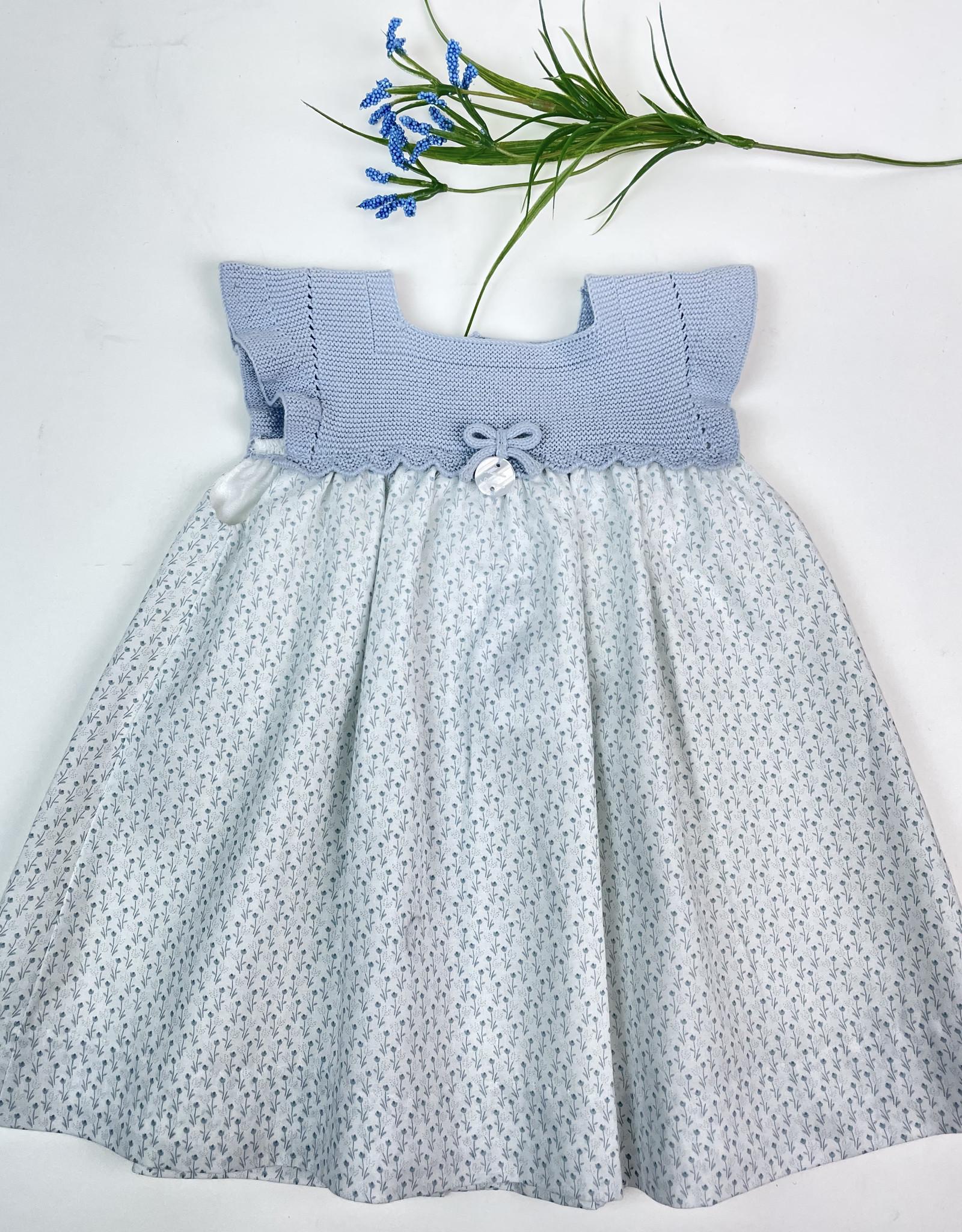 Martin Aranda Dress blue knit top with dot skirt  30044