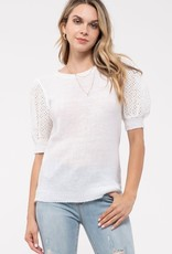 White Sweater with Eyelet Balloon Sleeve 1021