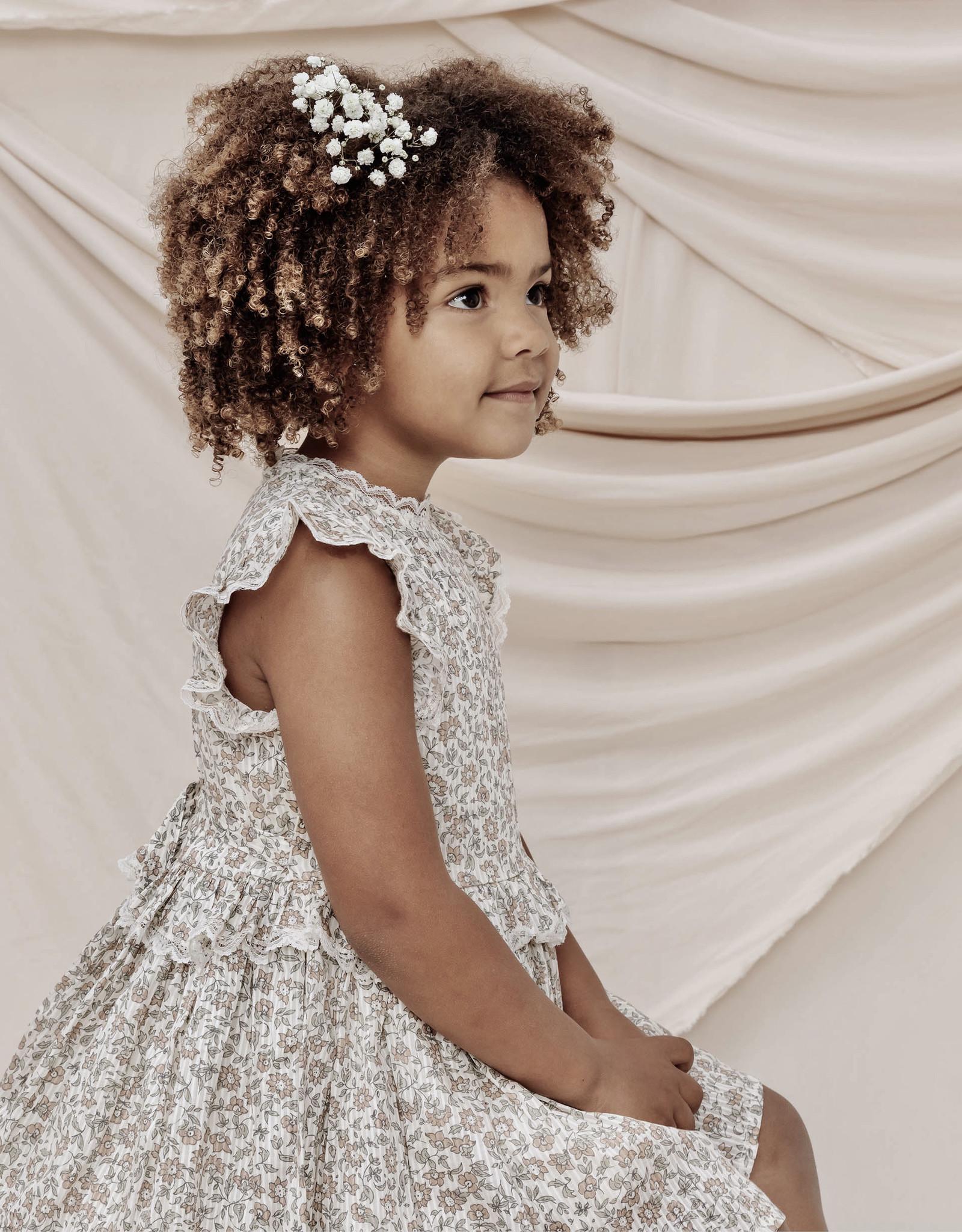 Nora Lee Alice Beige Floral Dress Ruffle Waist