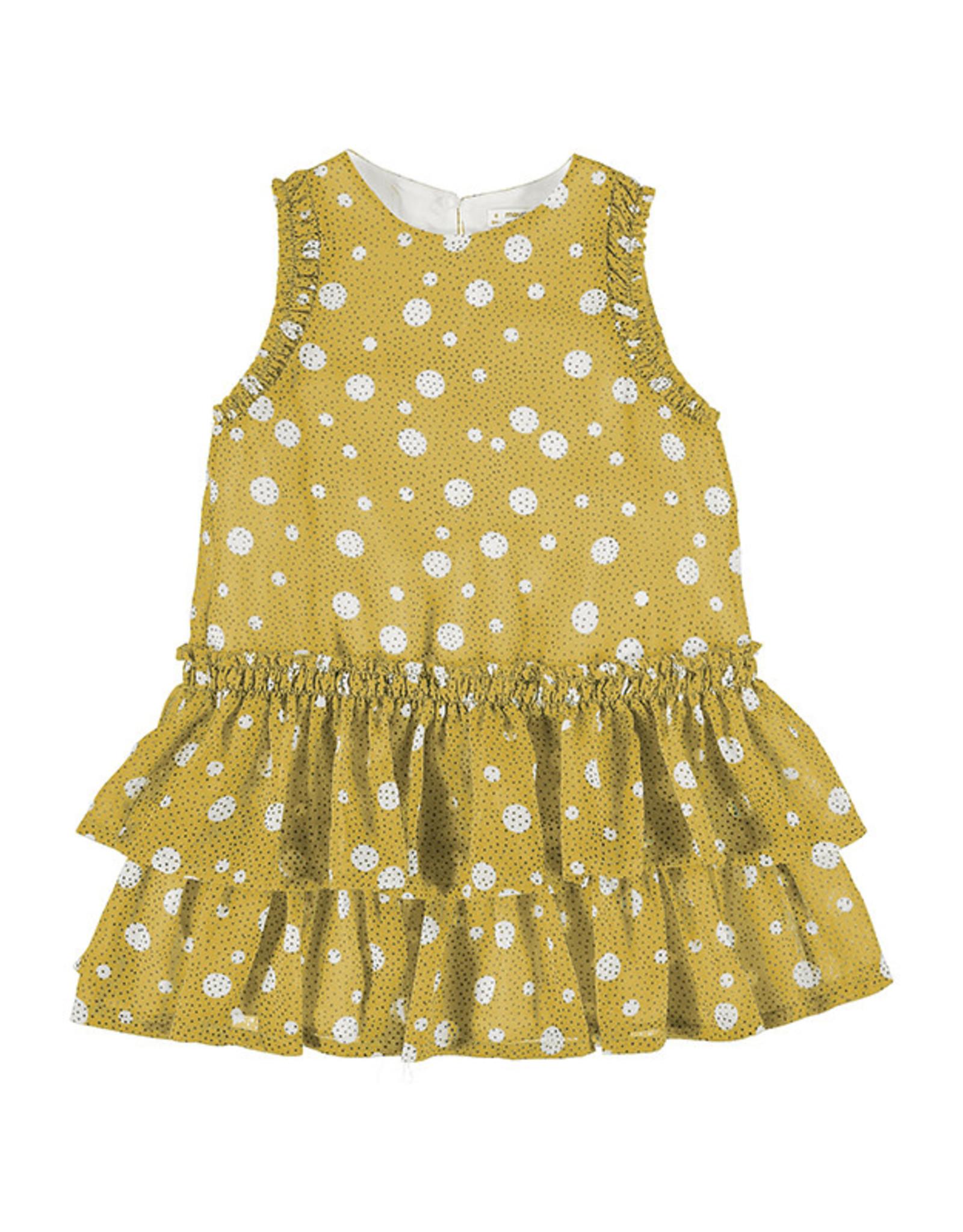 Mayoral Dress Yellow Chiffon Dots Layered Skirt