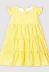 Petit Bateau Dress Yellow Seersucker tiered  59675