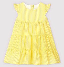 Petit Bateau Dress Yellow Seersucker Tiered