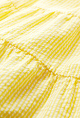 Petit Bateau Dress Yellow Seersucker tiered  59675