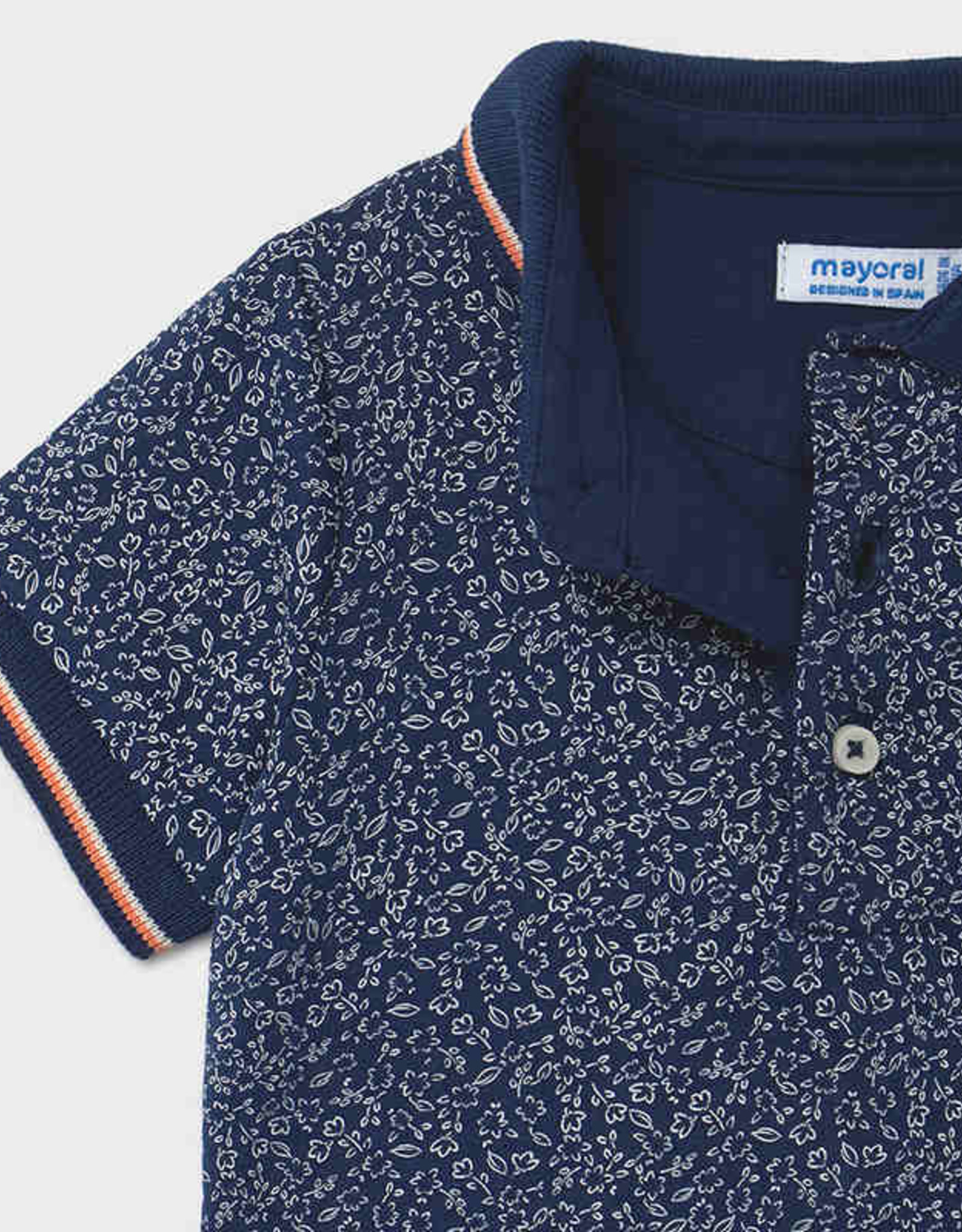 Mayoral Navy Polo Small Flower Print