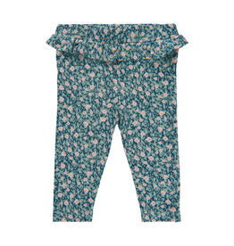 Minymo Green Rayon Knit Floral Print Legging