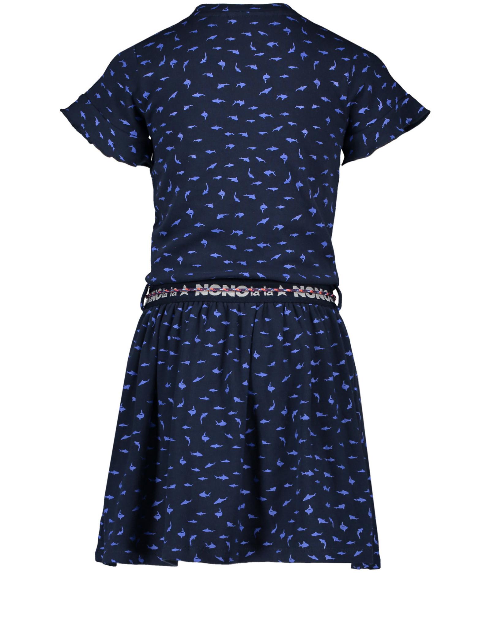NONO Dress Navy w/ Blue Shark print elastic waist 5800