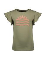 Like Flo Olive tee with Pink Sun